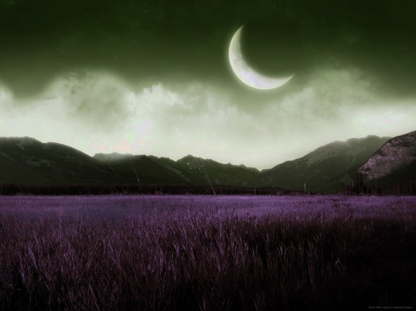 mountains-nature-night-moon-grass-fields